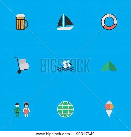 Elements Pub, Sea Rescue, Sorbet And Other Synonyms Schooner, Truck And Journey.  Vector Illustration Set Of Simple Travel Icons.