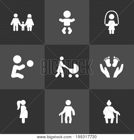 Collection Of Expectant Mother, Grandma , Perambulator Elements.  Set Of 9 Family Icons Set.
