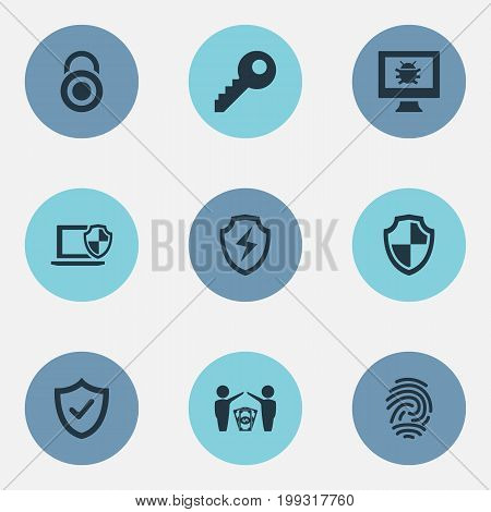 Elements Virus, Approve, Conservation And Other Synonyms Antivirus, Key And Okay.  Vector Illustration Set Of Simple Safety Icons.