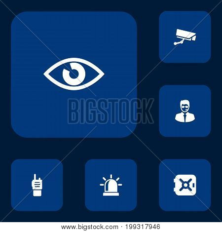 Collection Of Camera, Security Man, Look And Other Elements.  Set Of 6 Procuring Icons Set.