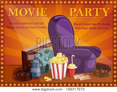 Vector design of poster for Movie Film festival party night