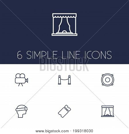Collection Of Theater, Barrier Rope, Ticket And Other Elements.  Set Of 6 Pleasure Outline Icons Set.