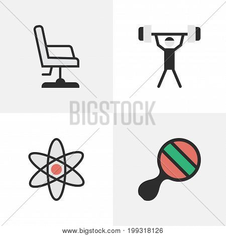 Elements Bodybuilding, Molecule, Armchair And Other Synonyms Seat, Bodybuilding And Nuclear.  Vector Illustration Set Of Simple Education Icons.