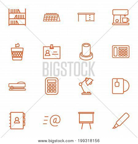 Collection Of Calendar, Marker, Board Stand Elements.  Set Of 16 Workspace Outline Icons Set.