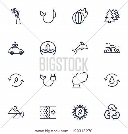 Collection Of Garbage, Ecologist, Renewable Energy And Other Elements.  Set Of 16 Bio Outline Icons Set.