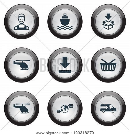 Elements Lorry, Retail, Helicopter And Other Synonyms Conversation, Cruise And Box.  Vector Illustration Set Of Simple Logistics Icons.