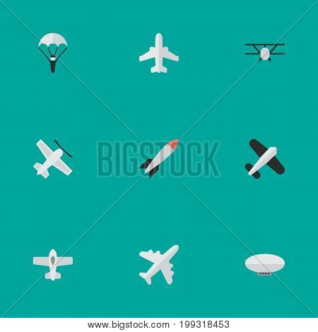 Elements Balloons, Catapults, Craft And Other Synonyms Rocket, Vehicle And Flying.  Vector Illustration Set Of Simple Plane Icons.