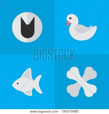 Elements Swan, Tomcat, Fish And Other Synonyms Fish, Food And Bird.  Vector Illustration Set Of Simple Zoo Icons.