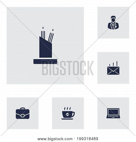 Collection Of Coffee, Laptop, Pencil Stand Elements.  Set Of 6 Bureau Icons Set.