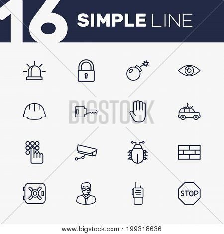 Collection Of Helmet, Supervision, Alarm And Other Elements.  Set Of 16 Safety Outline Icons Set.