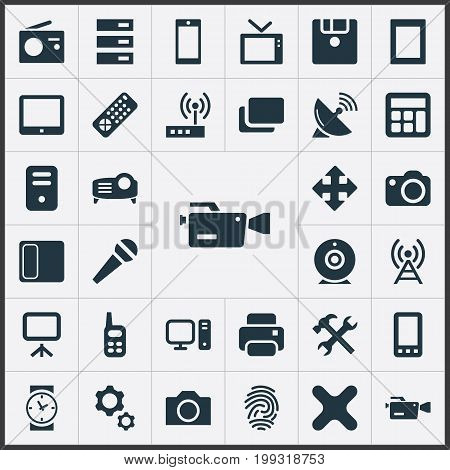 Elements Touchpad, Clock, Switch And Other Synonyms Station, Antenna And Remove.  Vector Illustration Set Of Simple Digital Icons.