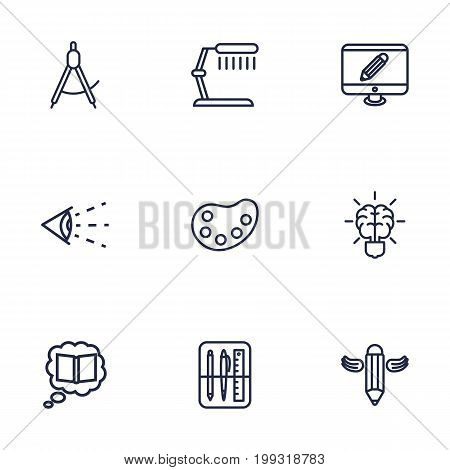 Collection Of Vision, Writing, Table Lamp And Other Elements.  Set Of 9 Creative Outline Icons Set.