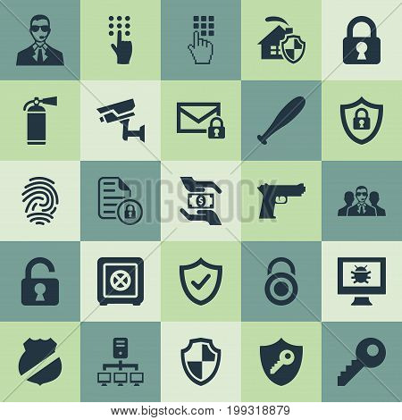 Elements Approve, Pistol, Bodyguard And Other Synonyms Pistol, Agent And Stick.  Vector Illustration Set Of Simple Security Icons.