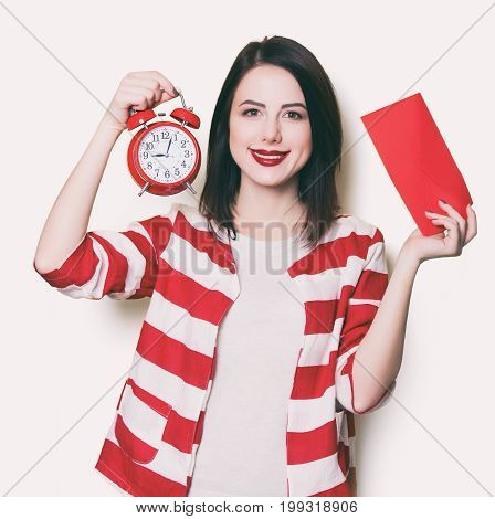 Girl With Retro Alarm Clock
