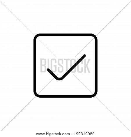 Line Ok Icon On White Background