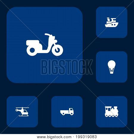 Collection Of Copter, Scooter, Lorry And Other Elements.  Set Of 6 Traffic Icons Set.