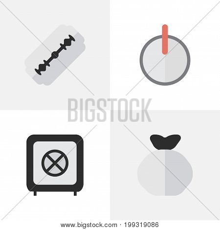 Elements Moneybox, Vault, Blade And Other Synonyms Vault, Sack And Password.  Vector Illustration Set Of Simple Criminal Icons.