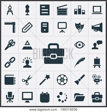 Elements Eye, Action, Wizard Stick And Other Synonyms Tailoring, Man And Dummy.  Vector Illustration Set Of Simple Designicons Icons.
