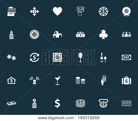 Elements Rate, Exchange, Wheel And Other Synonyms Vegas, Slot And Camera.  Vector Illustration Set Of Simple Casino Icons.