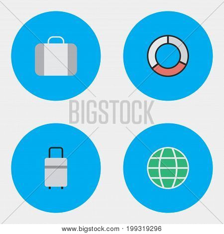 Elements Baggage, World, Bag And Other Synonyms Lifebelt, Planet And Luggage.  Vector Illustration Set Of Simple Relax Icons.