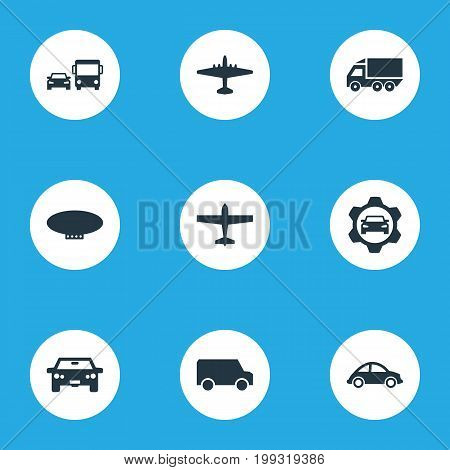 Elements Automotive, Van, Airliner And Other Synonyms Blimp, Public And Car.  Vector Illustration Set Of Simple Shipment Icons.