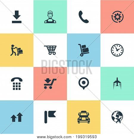 Elements Truck, Interval, Shopping Trolley And Other Synonyms Shipping, Point And Navigation.  Vector Illustration Set Of Simple Engineering Icons.