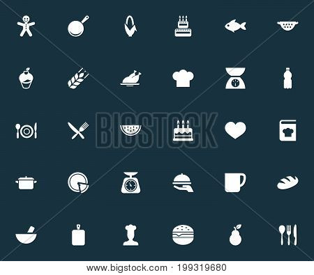 Elements Plastic Bottle, Noodles, Seafood And Other Synonyms Seafood, Muffin And Slice.  Vector Illustration Set Of Simple Preparation Icons.