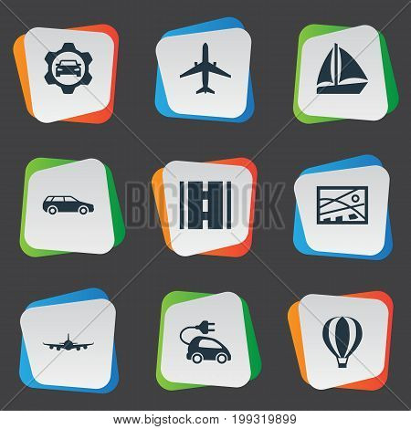 Elements Carriage, Air Logistics, Workshop And Other Synonyms Ship, Boat And Balloon.  Vector Illustration Set Of Simple Transportation Icons.