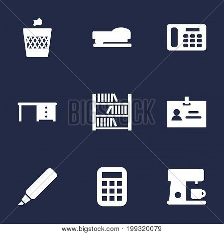 Collection Of Phone, Data, Book And Other Elements.  Set Of 9 Workspace Icons Set.