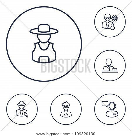 Collection Of Manager, Operator, Scientist And Other Elements.  Set Of 6 Position Outline Icons Set.