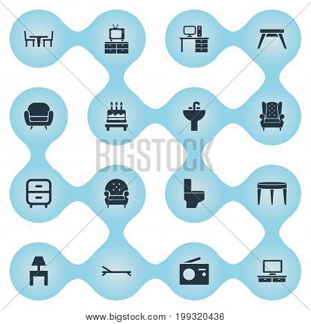 Elements Tap, Couch, Bench And Other Synonyms Wash, Set And Telly.  Vector Illustration Set Of Simple Furnishings Icons.