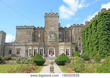 Fortified manor of Powderham Castle in Devon