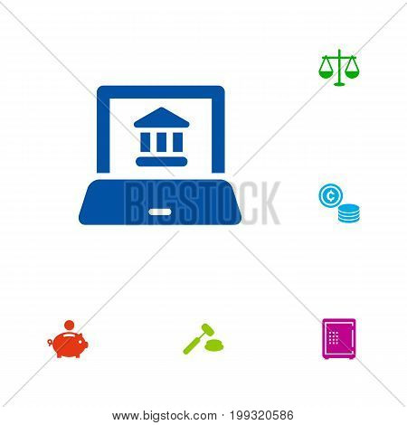 Collection Of Balance, Judge, Cash And Other Elements.  Set Of 6 Finance Icons Set.