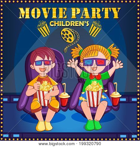 Vector design of poster for Children Movie Film festival party night