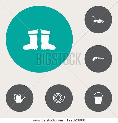 Collection Of Rubber Boots, Lawn Mower, Bucket And Other Elements.  Set Of 6 Farm Icons Set.
