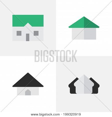 Elements House, Property, Base And Other Synonyms Estate, Property And Home.  Vector Illustration Set Of Simple Property Icons.