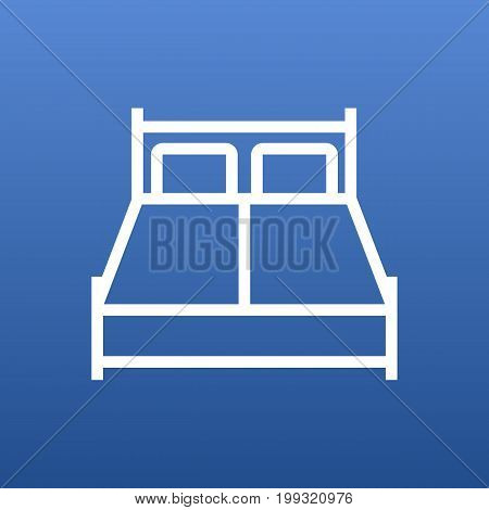 Vector Double Bed Element In Trendy Style.  Isolated Bedroom Outline Symbol On Clean Background.