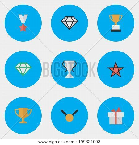 Elements Diamond, First, Gemstone And Other Synonyms First, Surprise And Award.  Vector Illustration Set Of Simple Champion Icons.