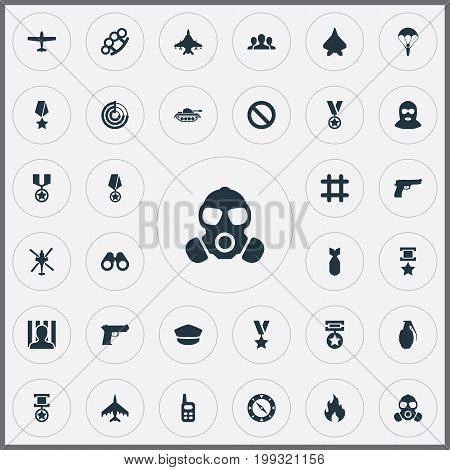 Elements Plane, Terrorist, Awarded And Other Synonyms Reward, Transport And Bang.  Vector Illustration Set Of Simple Battle Icons.