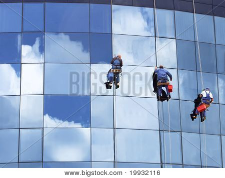 Workers Washing A Skyscraper Windows