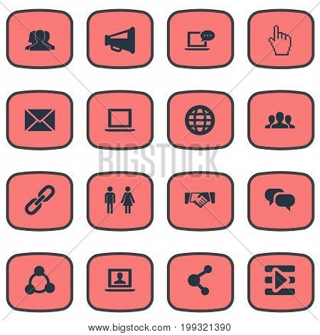 Elements Letter, Genus, Chain And Other Synonyms Group, Web And Media.  Vector Illustration Set Of Simple Media Icons.