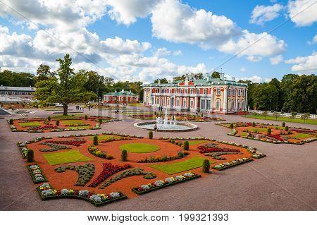 TALLINN, ESTONIA - 05 SEP 2015: Gardens and Kadriorg Palace, at Kadrioru Park, in Tallinn, Estonia