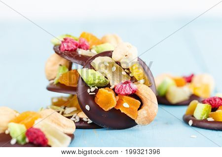 Handmade Chocolate With Candied Fruit And Nuts