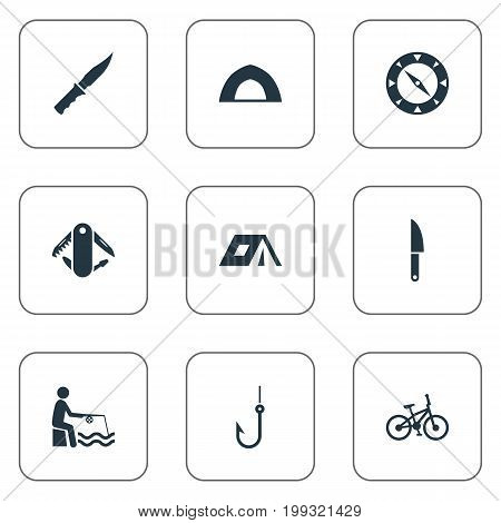 Elements Swiss Army Knife, Fishing, Touristic Blade And Other Synonyms Tackle, Fishman And Tourism.  Vector Illustration Set Of Simple Camp Icons.