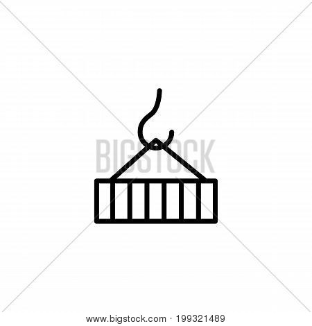 Container On Crane Icon On White Background