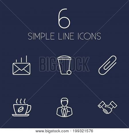 Collection Of Post, Fastener Paper, Partnership And Other Elements.  Set Of 6 Bureau Outline Icons Set.