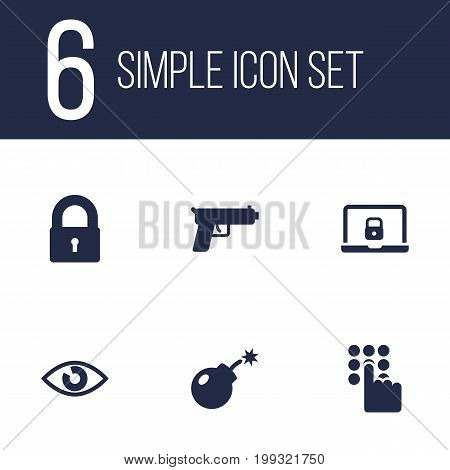 Collection Of Shot, Padlock, Dynamite And Other Elements.  Set Of 6 Procuring Icons Set.