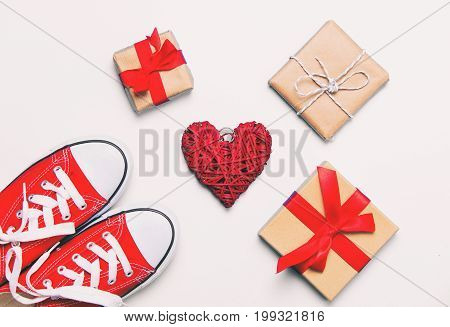 Big Red Gumshoes, Heart Shaped Toy And Beautiful Gifts