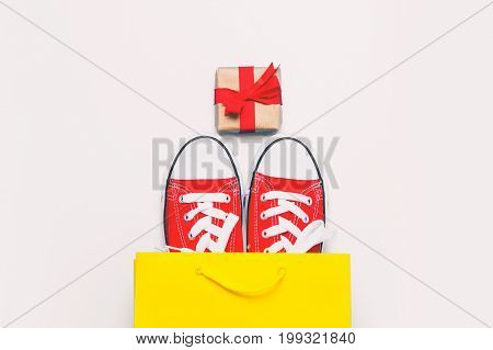 Big Red Gumshoes In Cool Shopping Bag