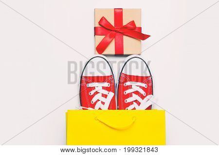 Big Red Gumshoes In Cool Shopping Bag And Beautiful Gift